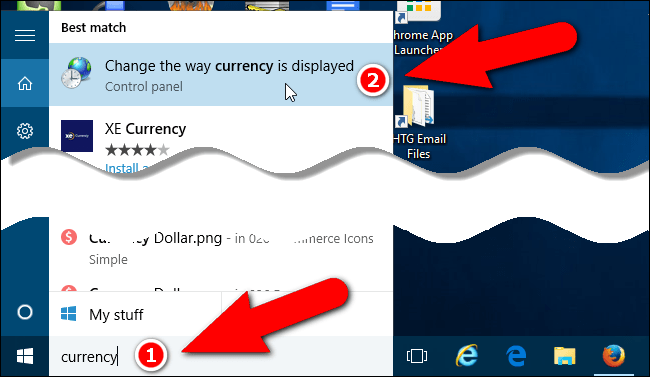 Access currency settings in Windows 7 and 10