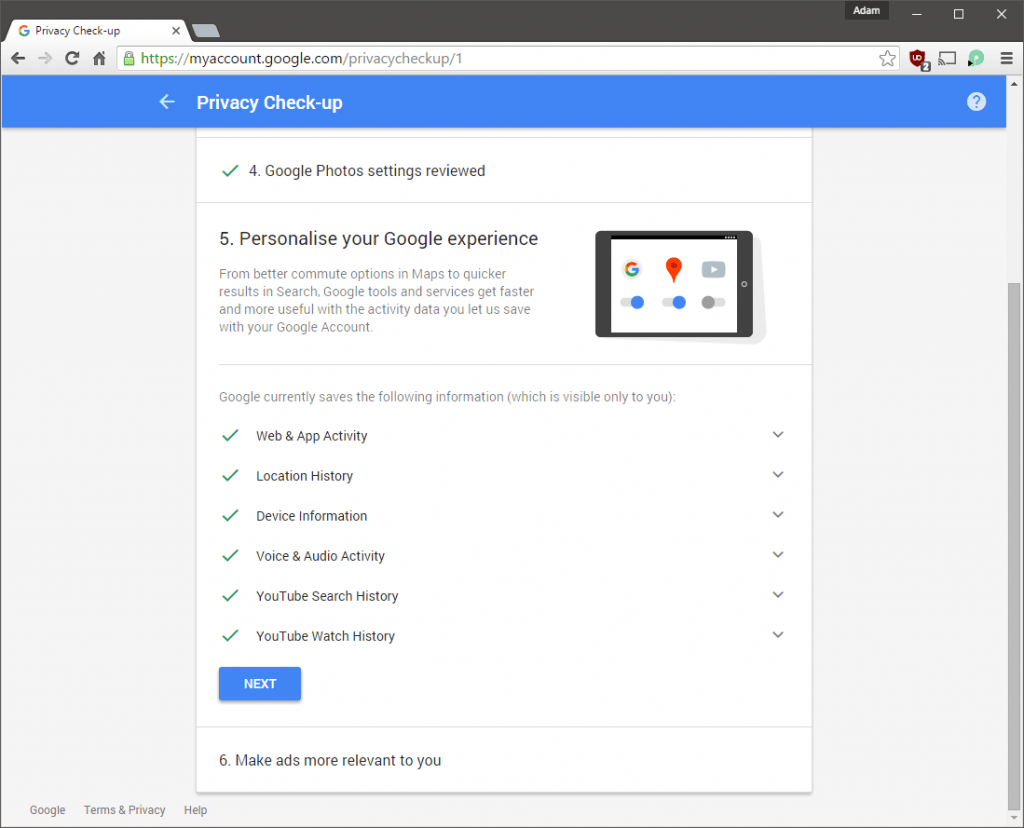 Privacy Check-up Activity Controls