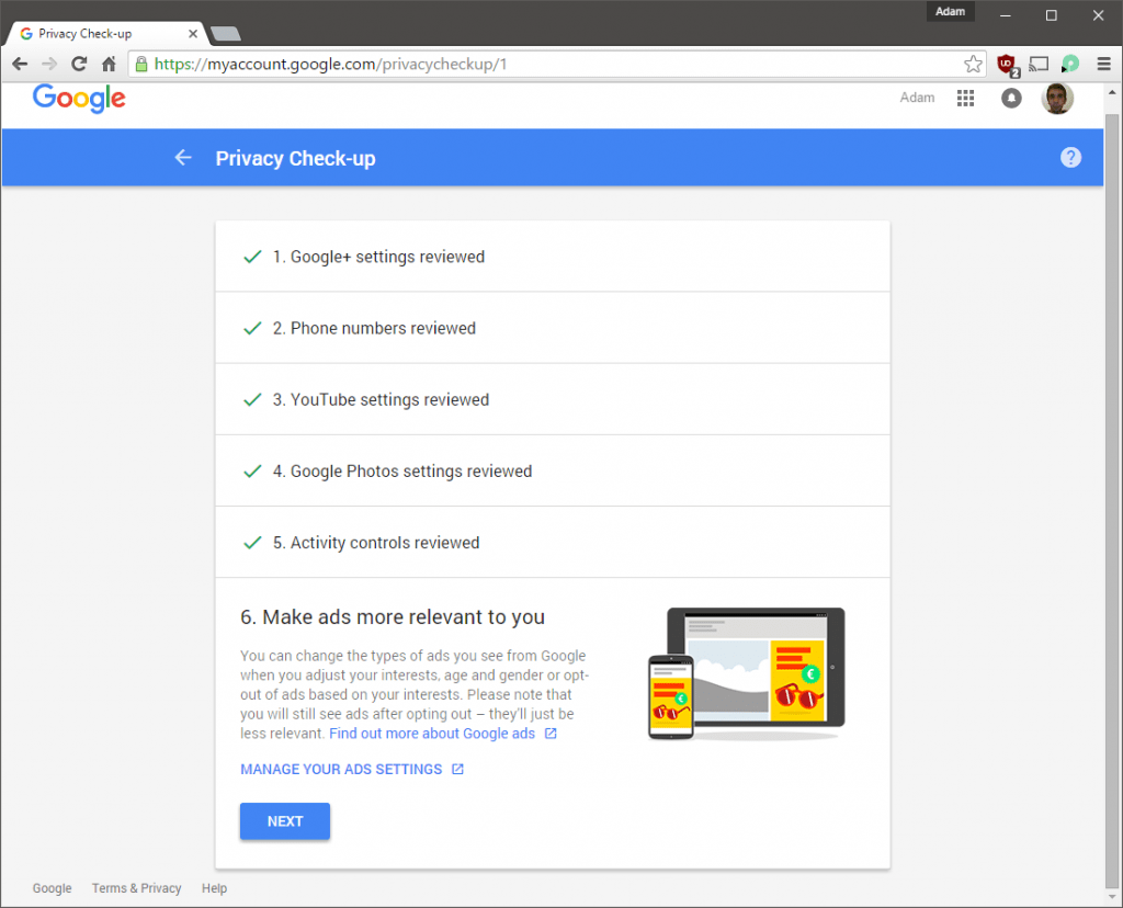 Privacy Check-up Ads Settings