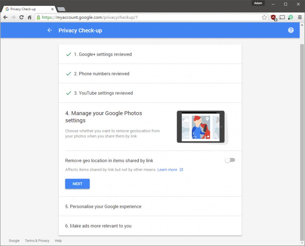 Privacy Check-up Google Photos