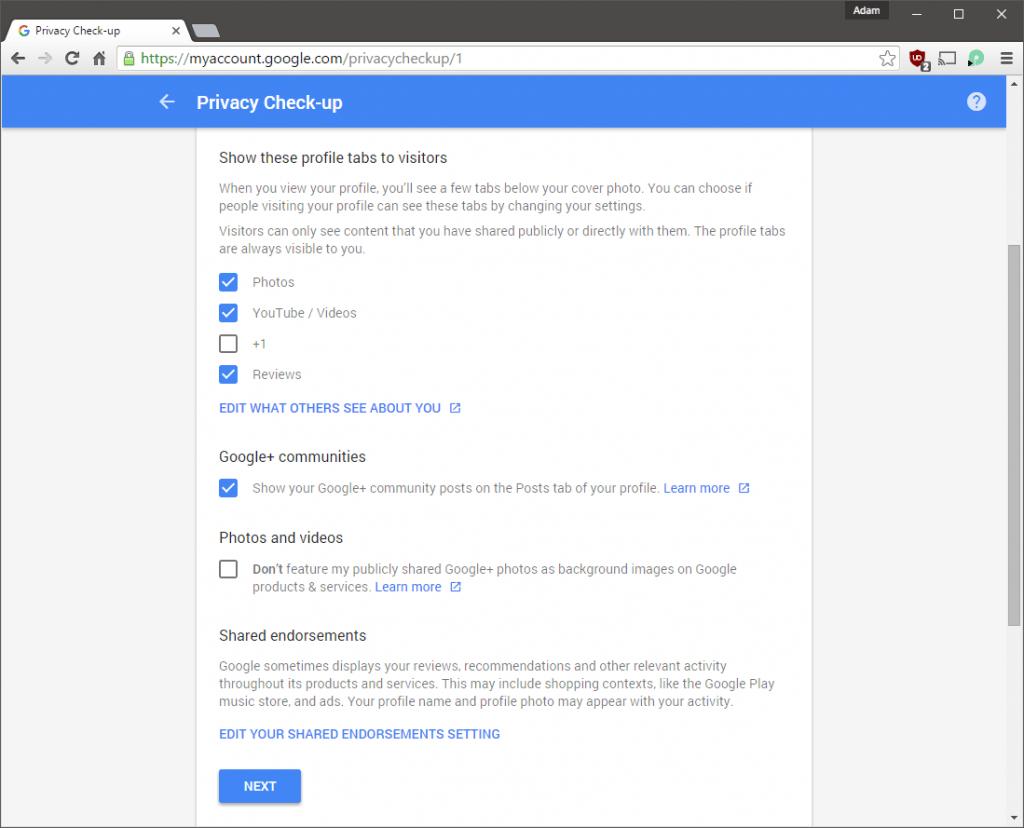 Privacy Check-up Google+2