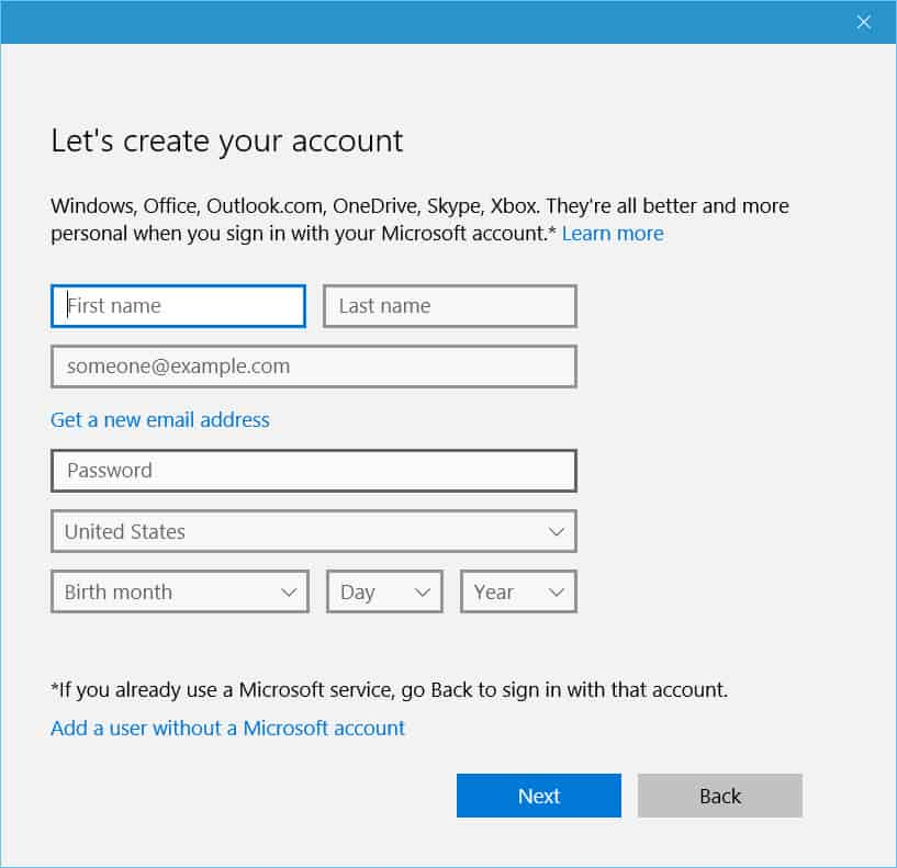Windows 10 - User account creation without Microsoft account