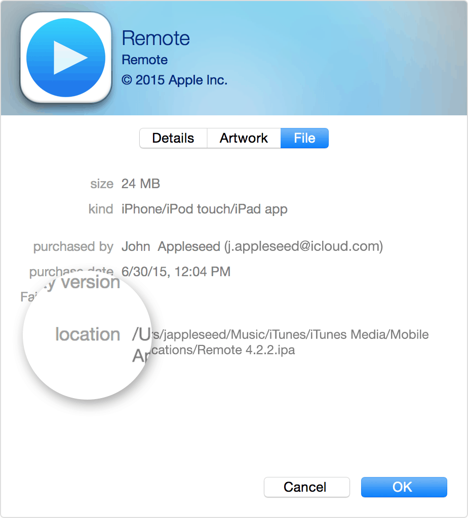 iTunes Track Location