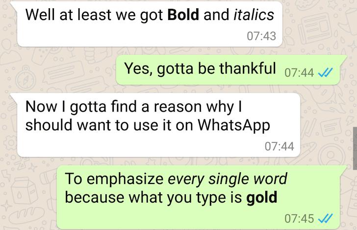 Format text in WhatsApp