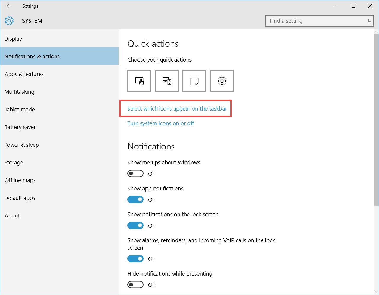 customize the Taskbar Notification area in Windows 10