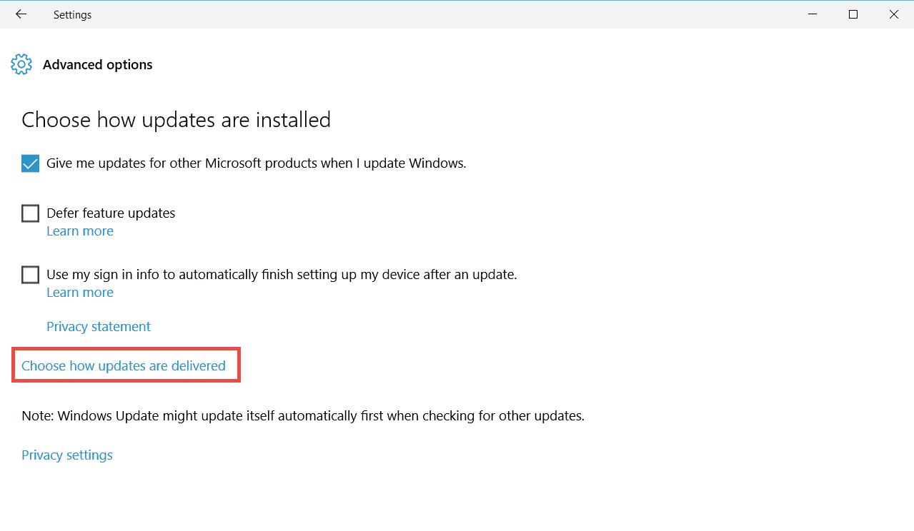 Windows update settings - Advanced options
