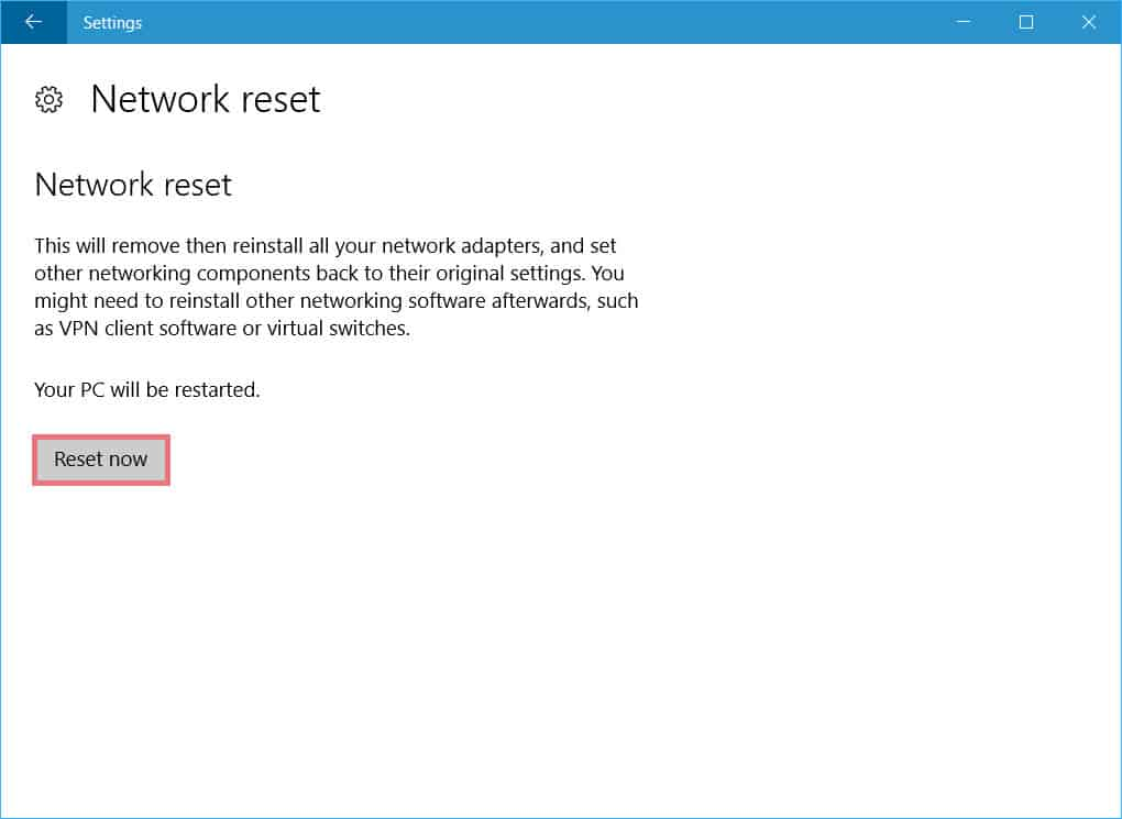 reset all network adapters in Windows 10