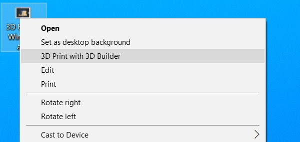 "remove ""3D Print with 3D Builder"" option from Windows 10 context menu"