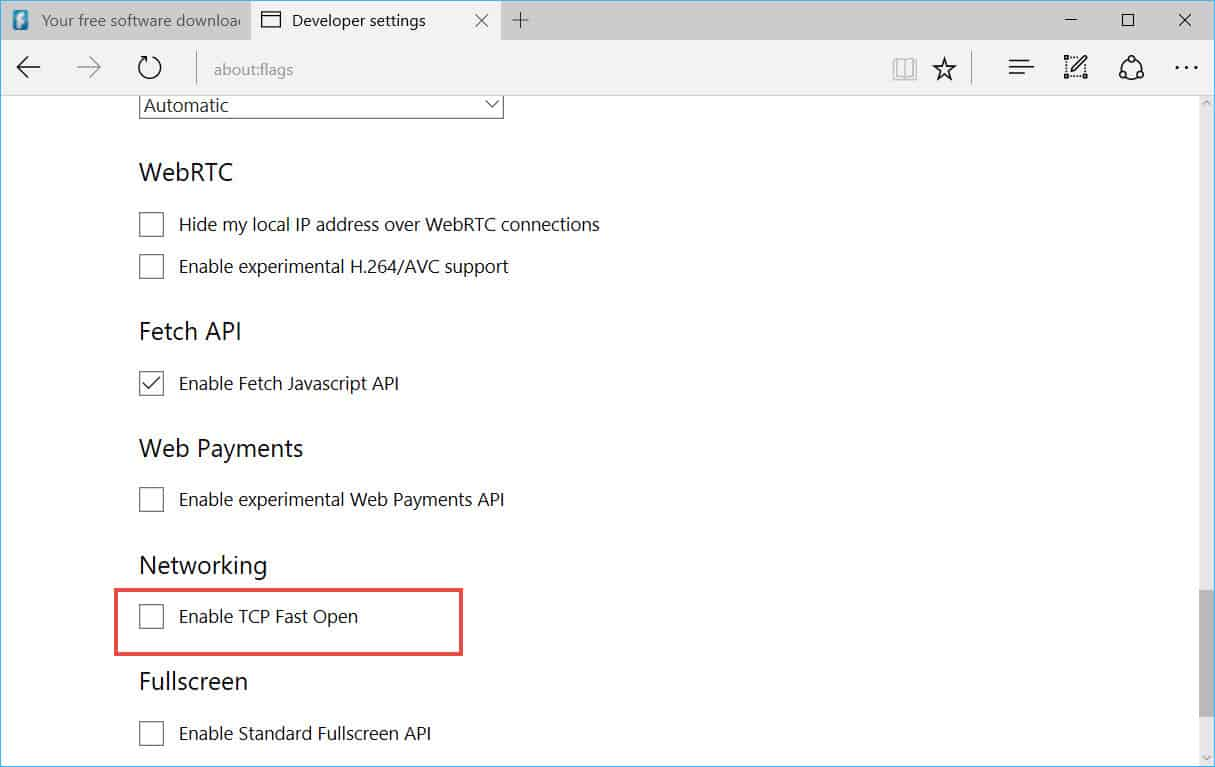 Enable TCP Fast Open for Microsoft Edge 2
