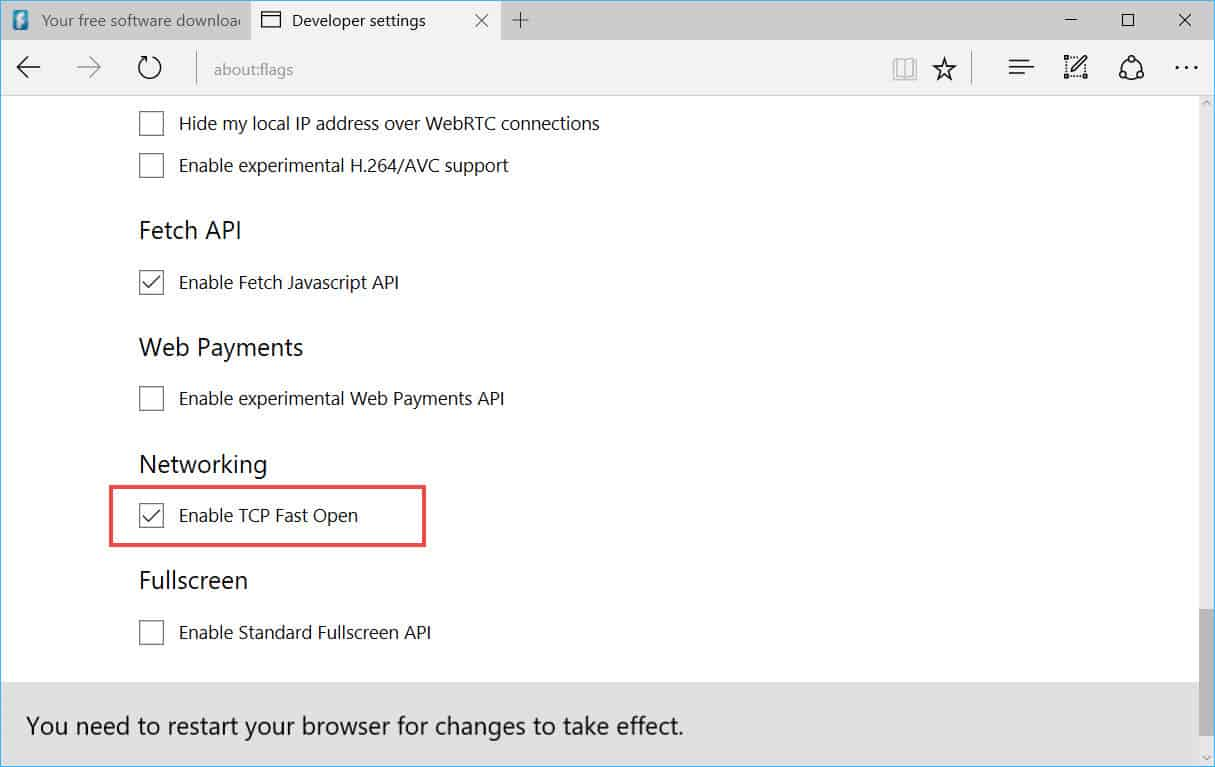 Enable TCP Fast Open for Microsoft Edge 3