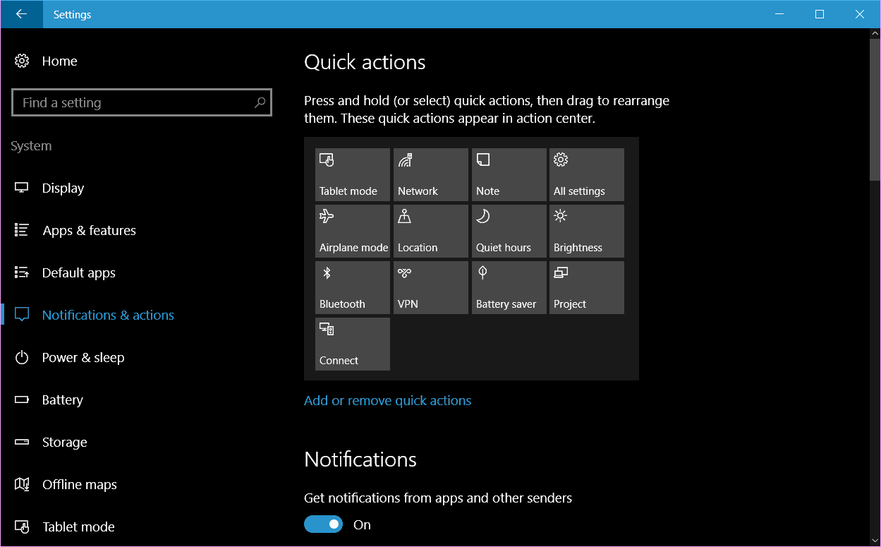 customize Windows 10 Quick Action icons
