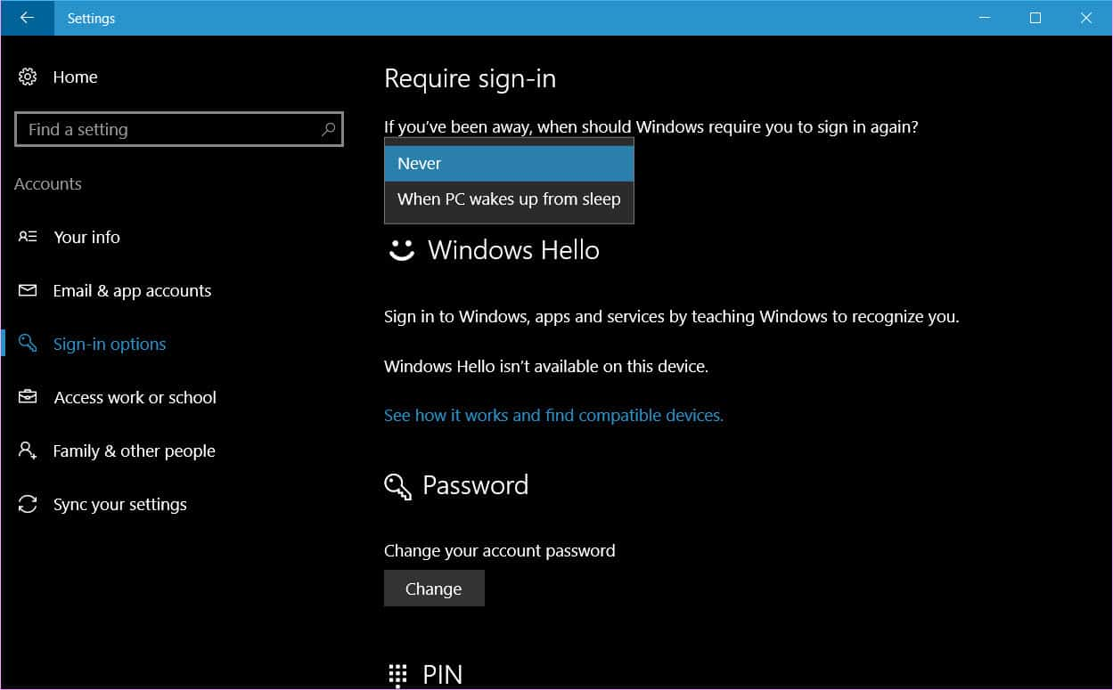 disable sleep password in Windows 10