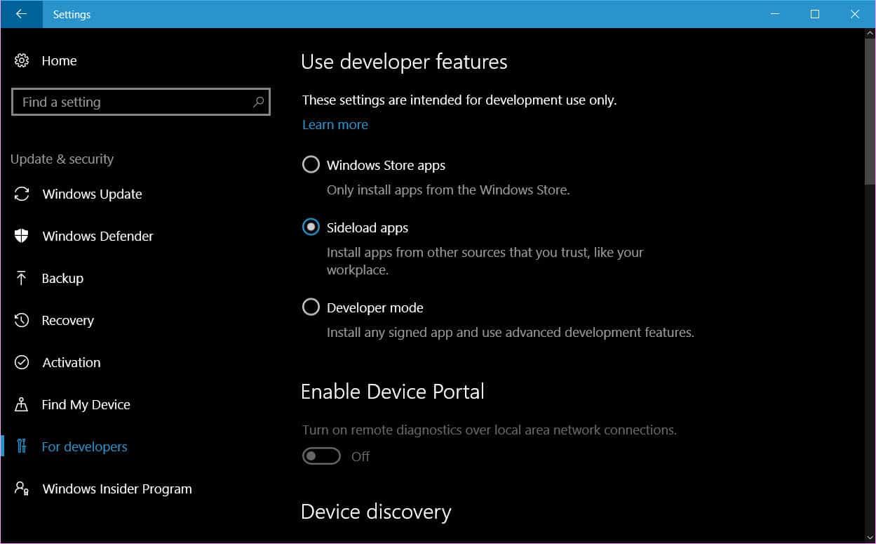 sideload apps on Windows 10
