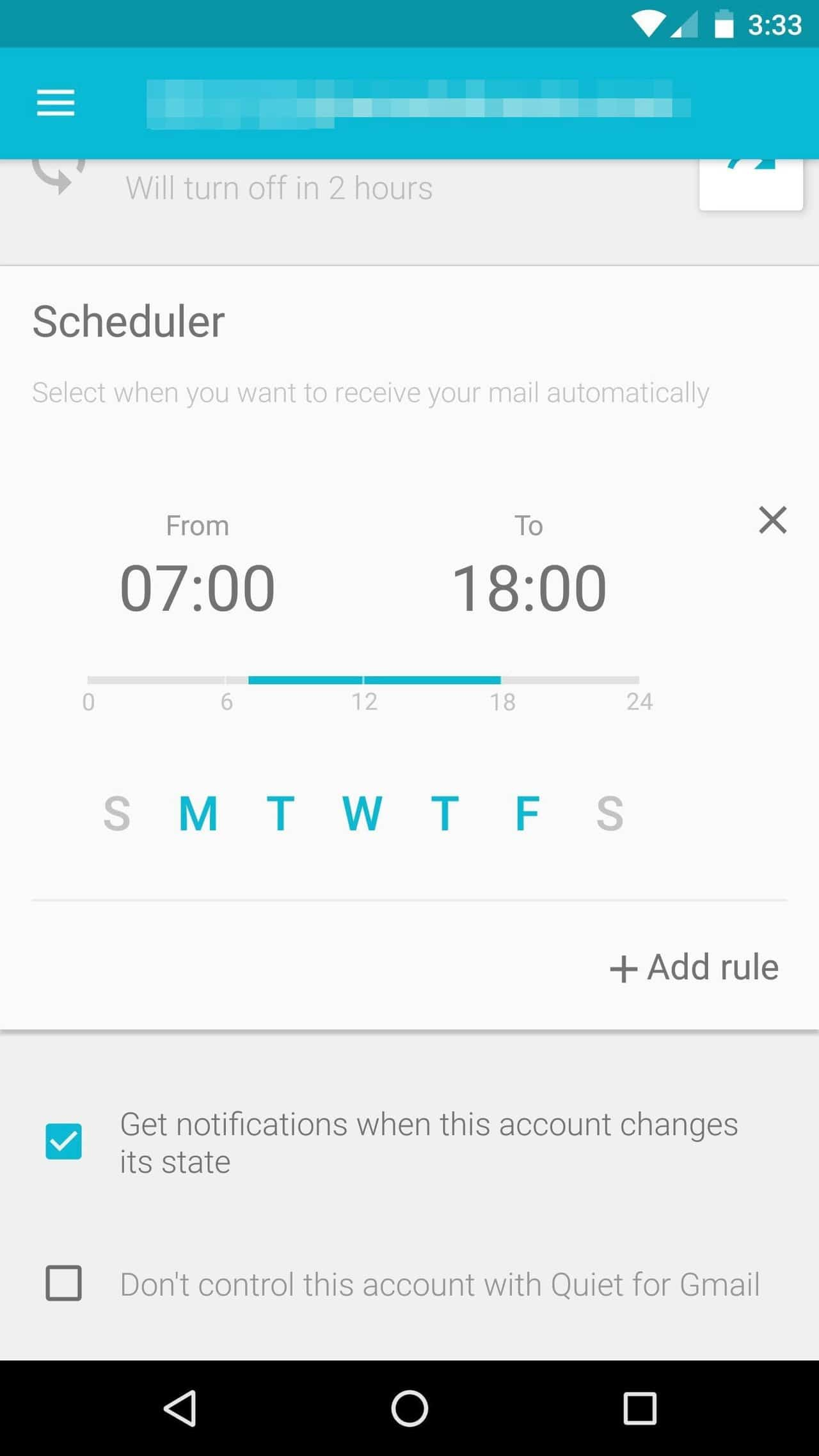 stop work email notifications on Android during free time