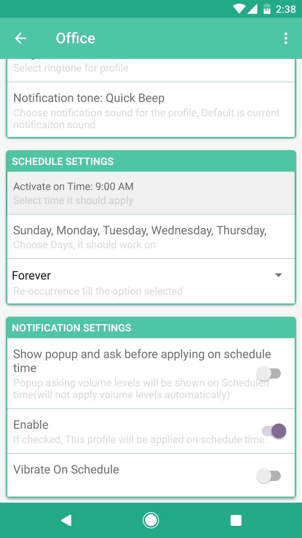 schedule volume levels on Android