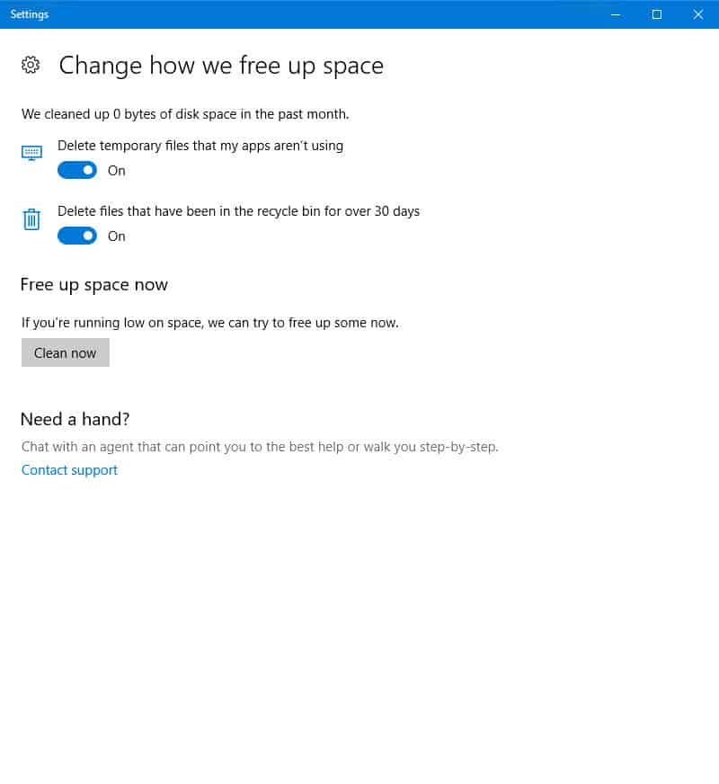 Automatically clear temporary files in Windows 10