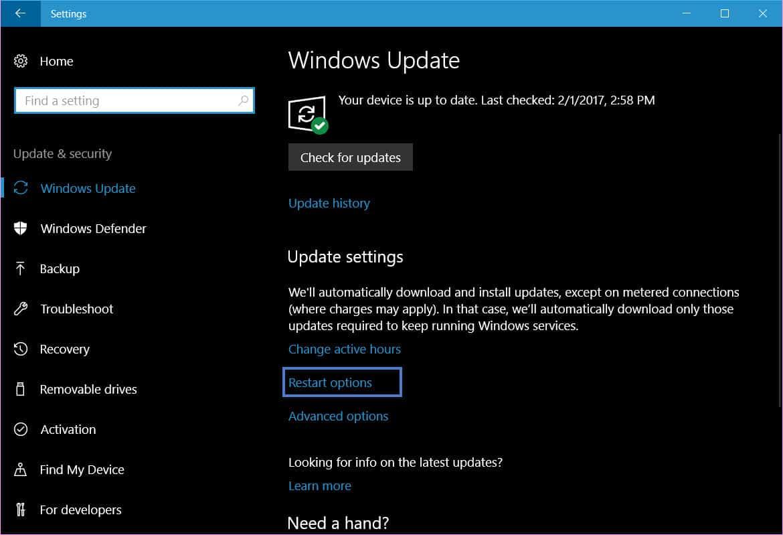 enable update restart notifications in Windows 10