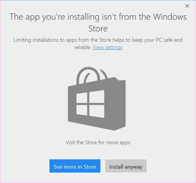 choose where apps can be installed from in Windows 10
