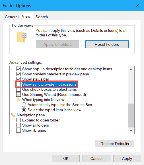 Disable ads in File Explorer