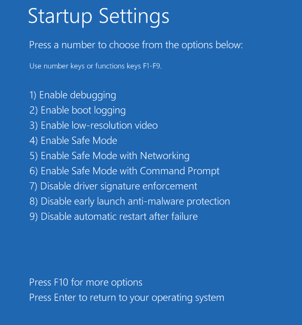 automatically run Advanced Startup Options at system boot