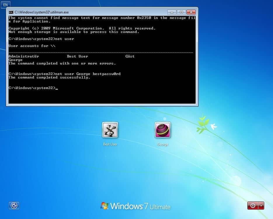 reset Windows user password
