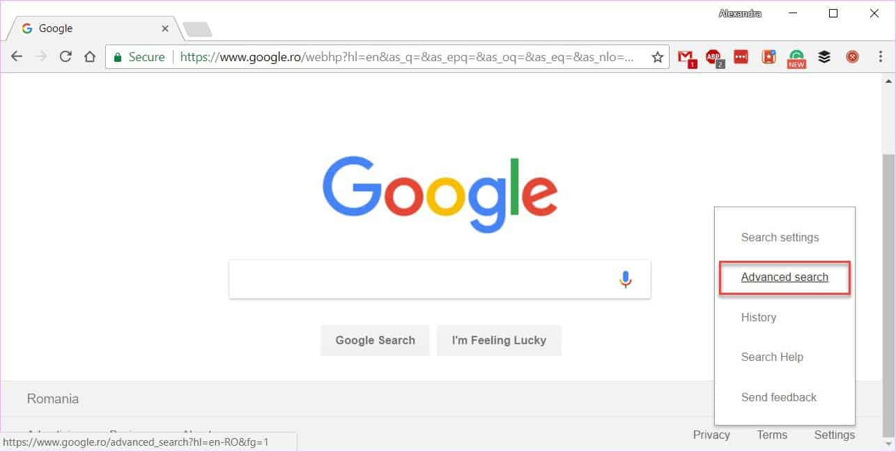 Force Google search results from the US