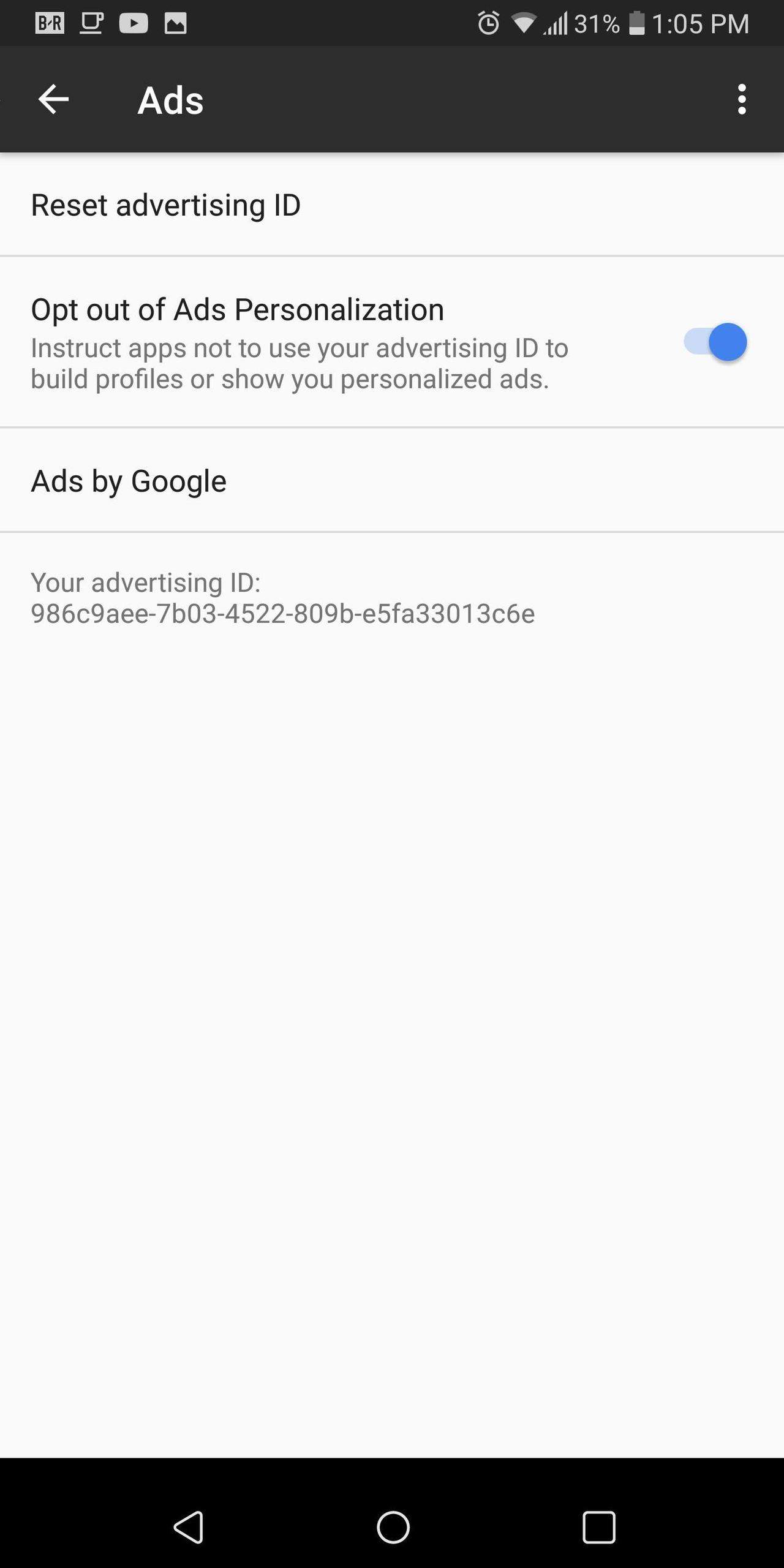 opt out of ad tracking on Android