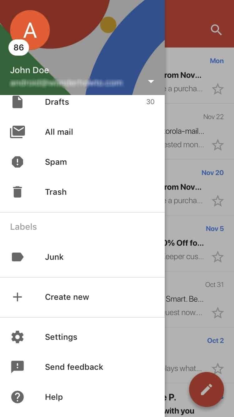 clear the search history in Gmail on iOS