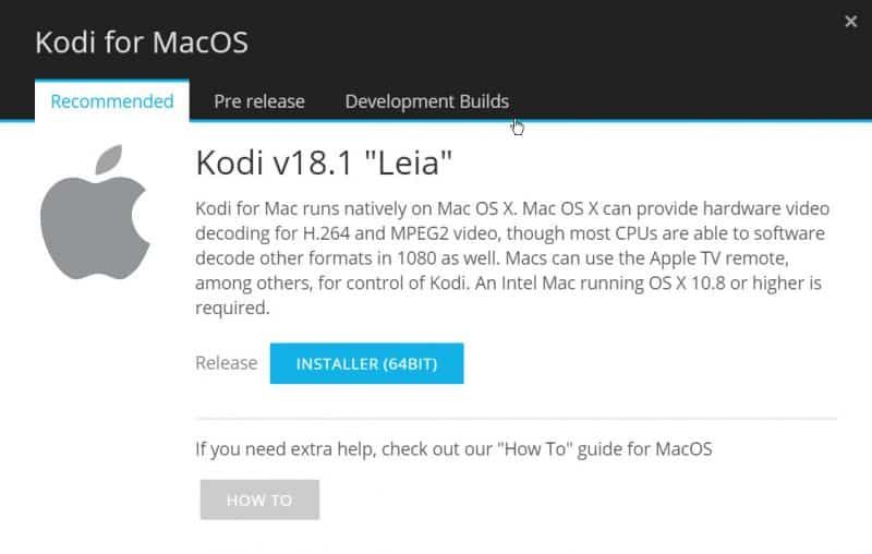 how to install Kodi on Mac