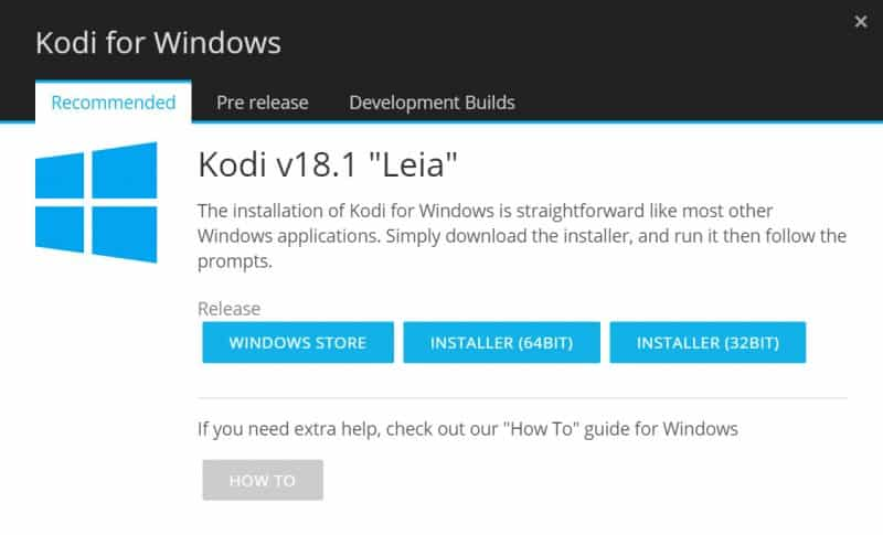 how to install Kodi on Windows